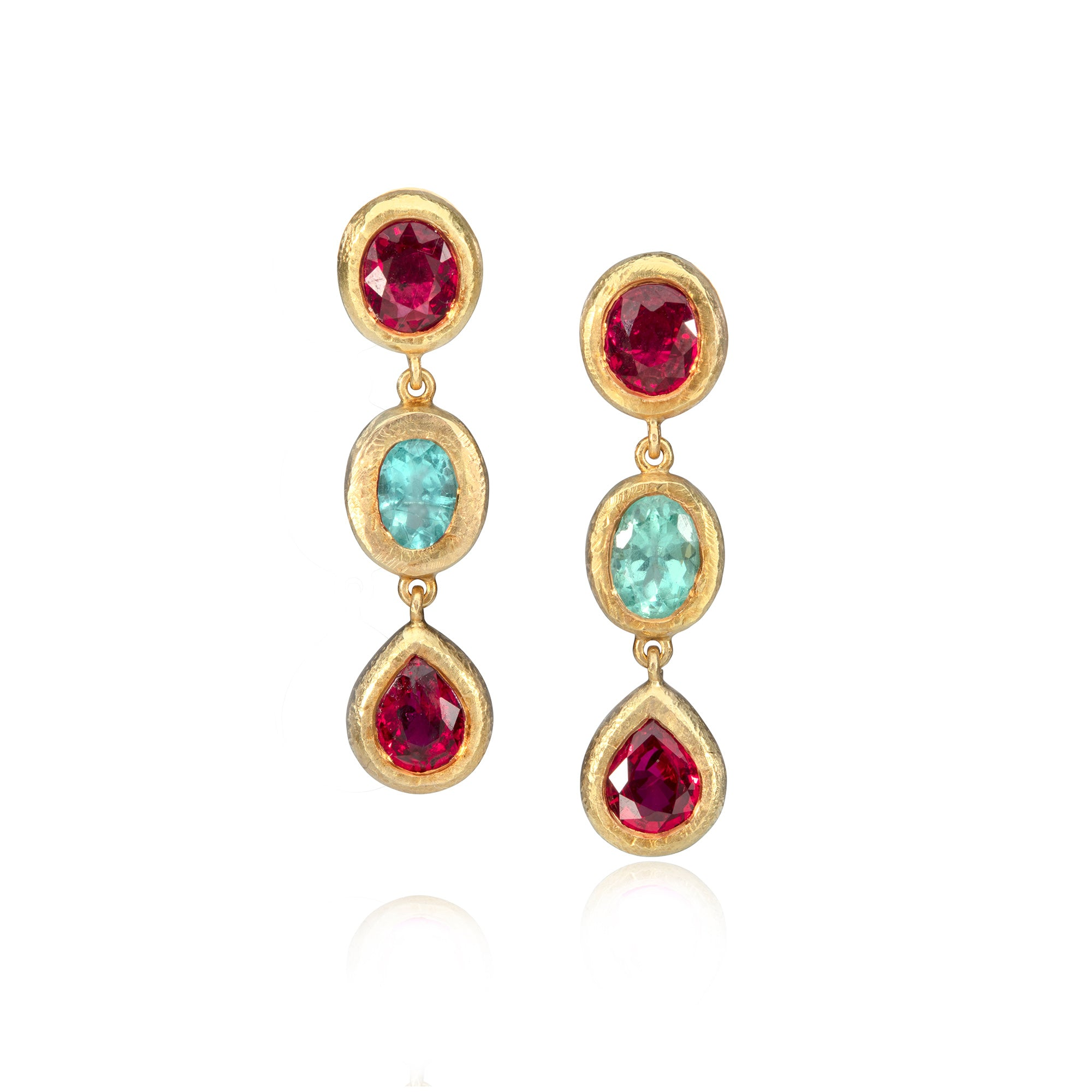 Paraiba tourmaline and ruby drop earrings on white background