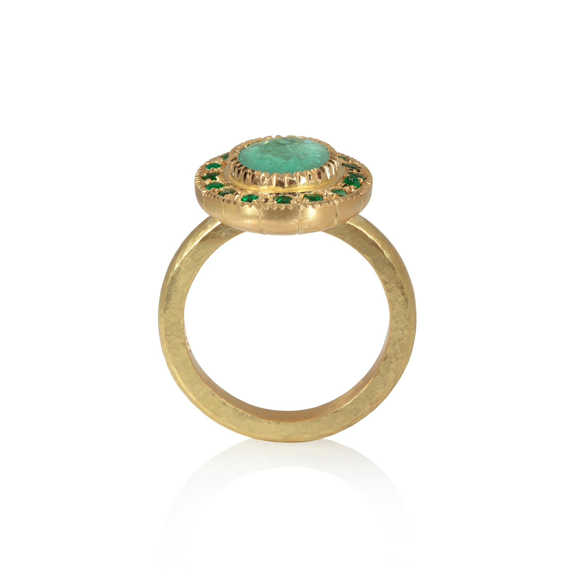 Side on view of Paraiba tourmaline and emerald ring