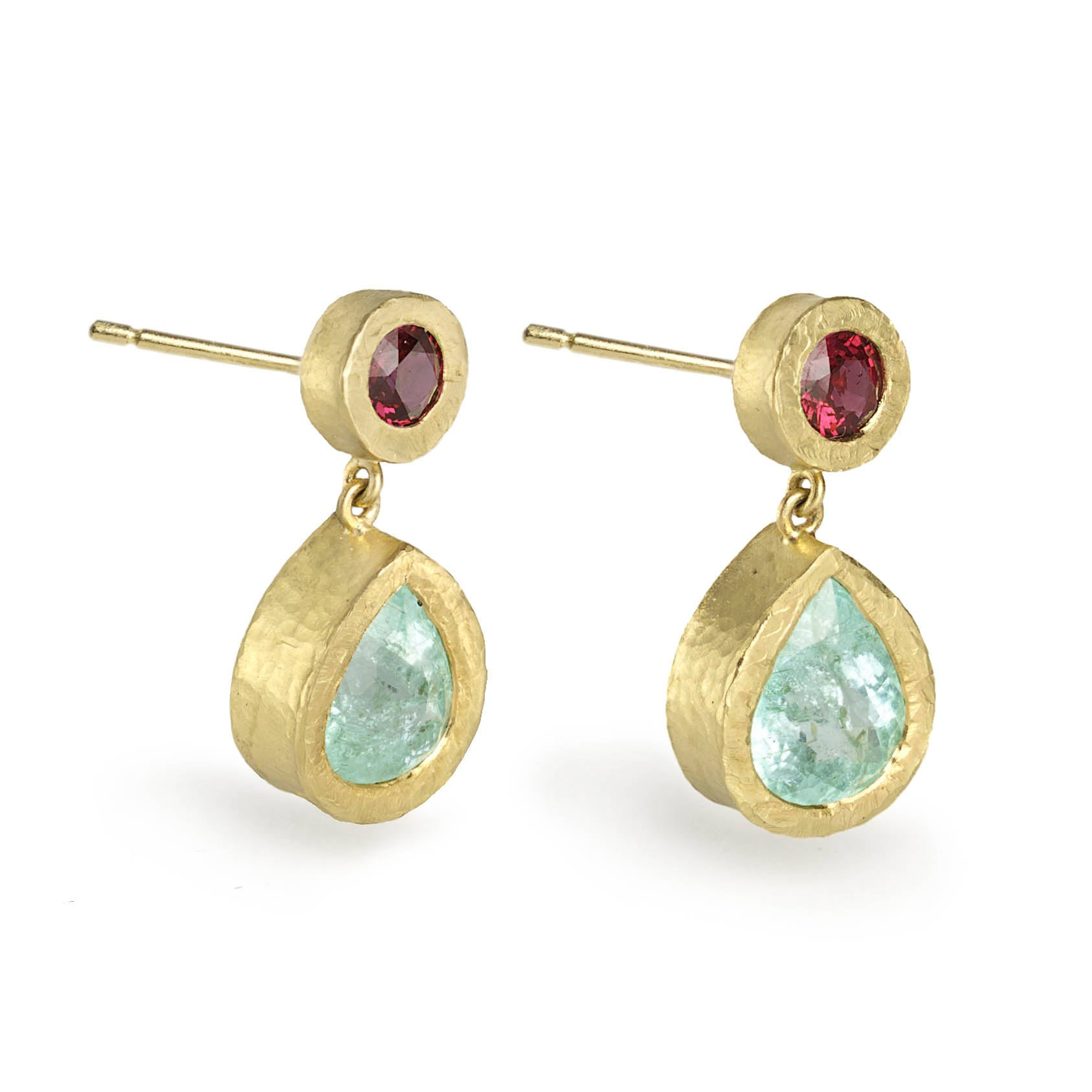 Paraiba Tourmaline & Ruby Drop Earrings
