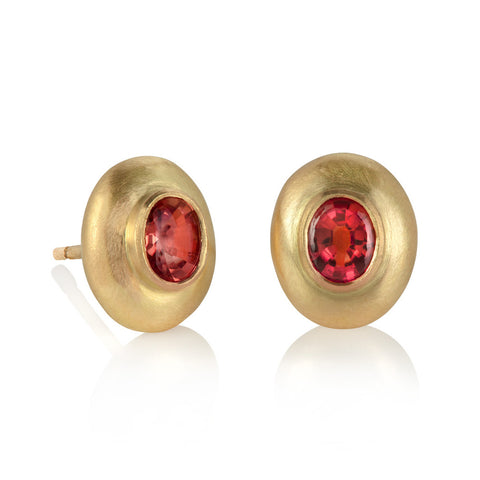 Pebble Studs with Pink Sapphire