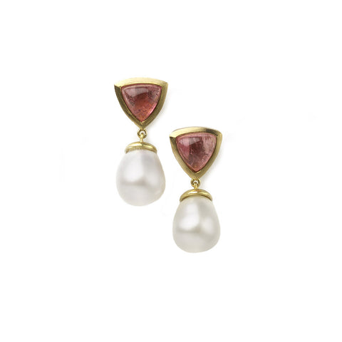 Pink Tourmaline & Pearl Drop Earrings