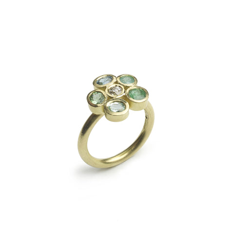 Paraiba Tourmaline & Diamond Flower Ring