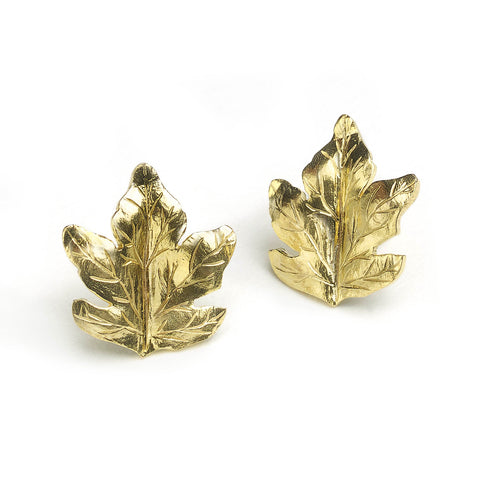 Silver and yellow gold micro-plated leaf stud earrings