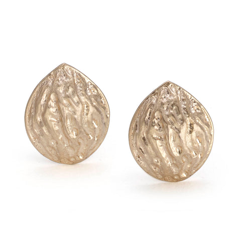 Silver red gold micro-plated oak leaf studs