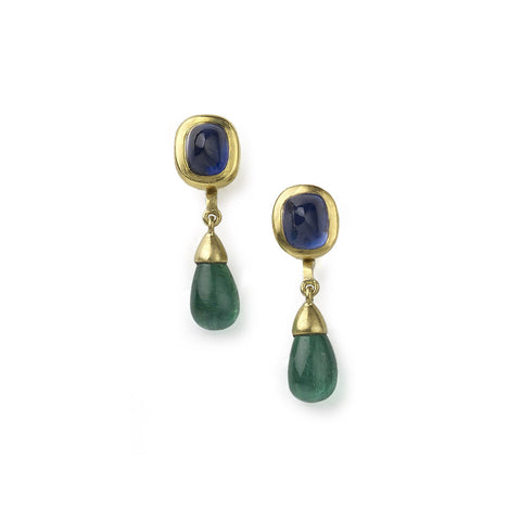 Sapphire cabochon studs, with detachable emerald cabochon drops