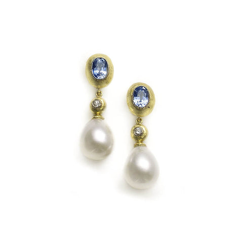 Sapphire Earrings With Diamond And Pearl Drops