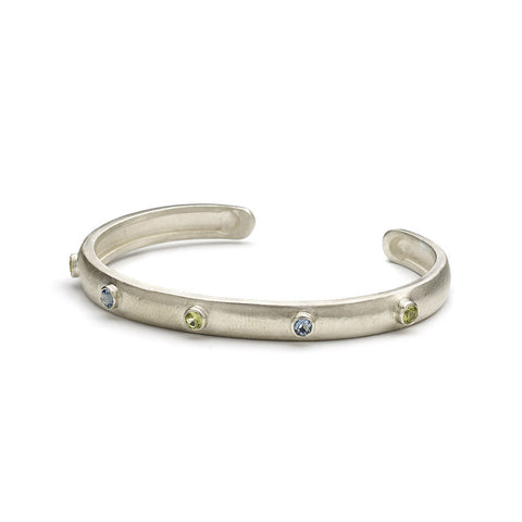 Silver, Blue Topaz and Peridot Bangle