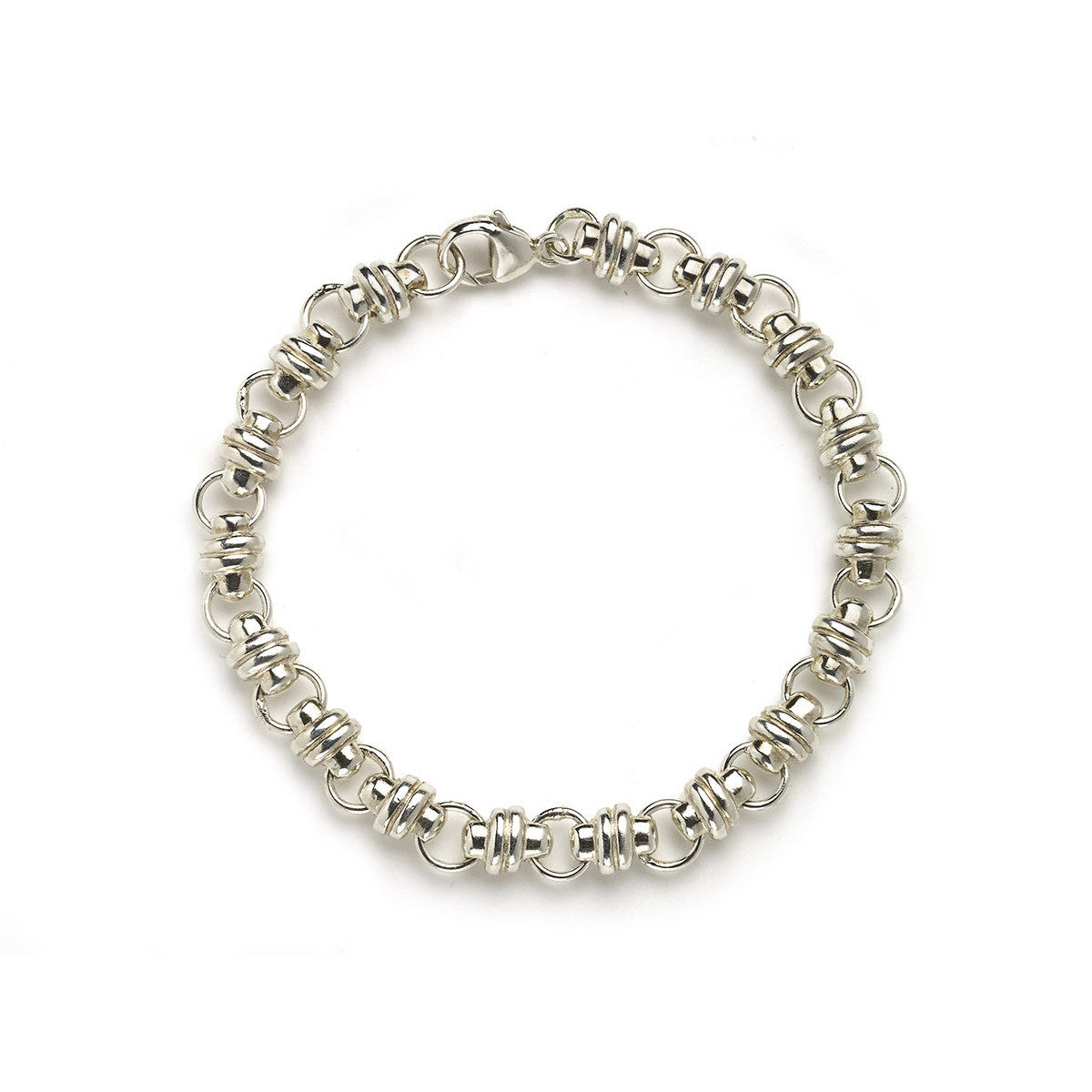 Silver bracelet with thick links interspersed with small round links