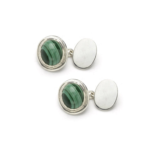 Silver and Malachite Cufflinks