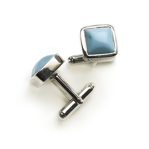 Silver And Turquoise Square Cufflinks