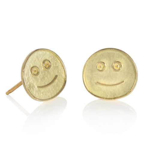 Yellow gold stud earrings in the shape of smiley faces