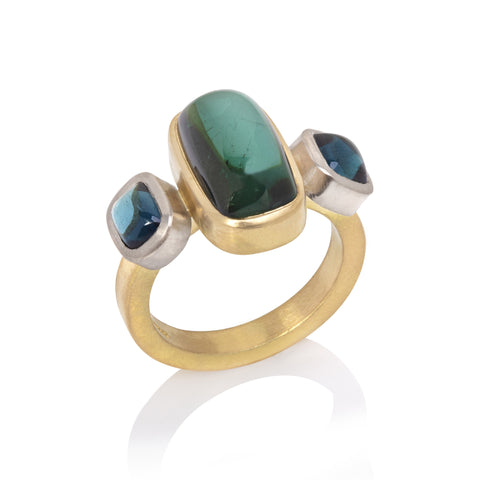 Green & Blue Tourmaline Ring