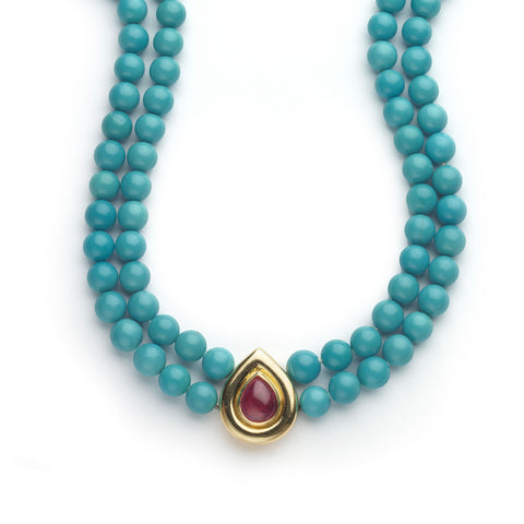Turquoise Bead Necklace With Cabochon Ruby