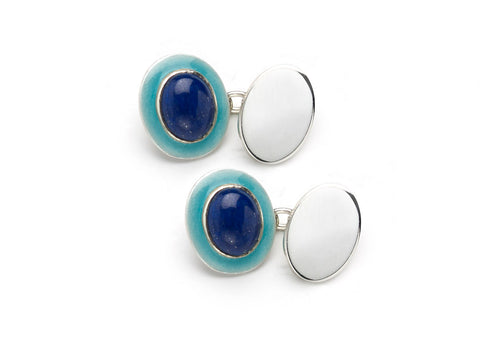 Blue enamel and synthetic sapphire cufflinks
