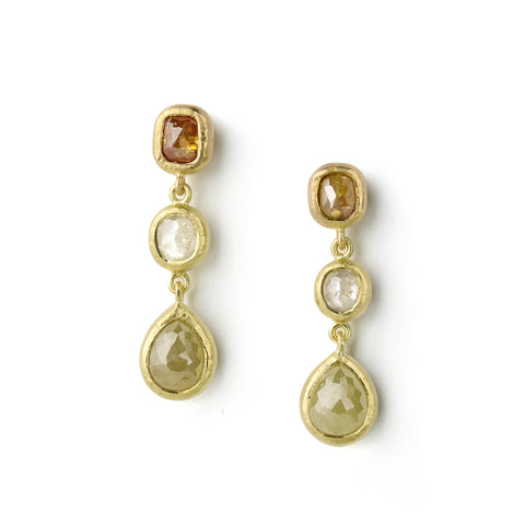 Yellow gold drop earrings set with rose cut diamonds of different hues