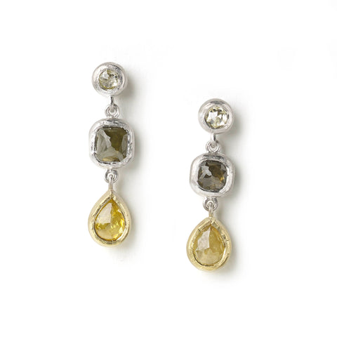 White gold drop earrings set with rose cut diamonds, yellow pear shaped rose cut diamonds set in yellow gold