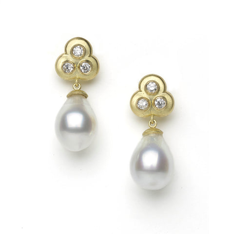 Diamond Trefoil and Pearl Drop Earrings