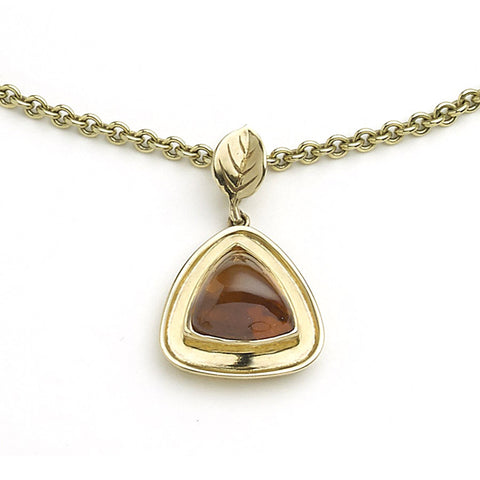 Multi-Stone Beaten Gold Pendant