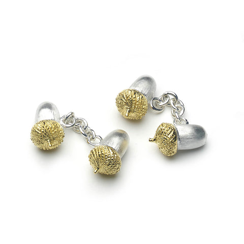 Silver acorn shaped cufflinks with chain link fitting, top of cufflinks are micro-plated with yellow gold