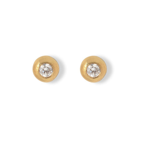 Yellow gold pebble style stud earrings set with diamond