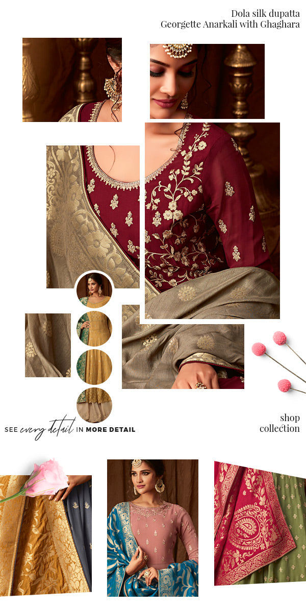 Just in - georgette anarkali with ghaghara and dola silk