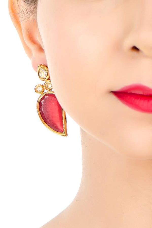 Indi Fashion Red Kairi Danglers