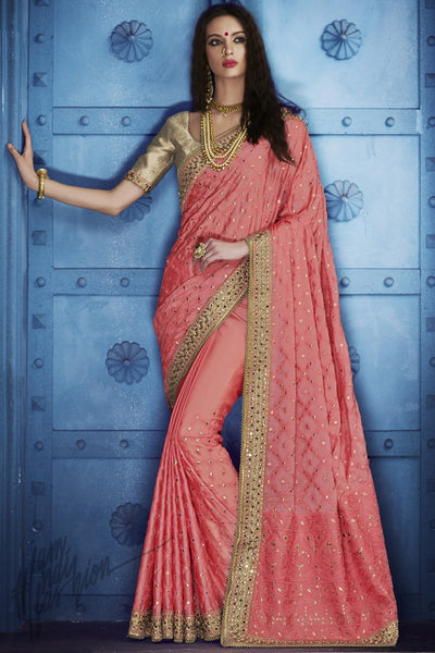 Hiramyee Pink and Chiku Silk Saree