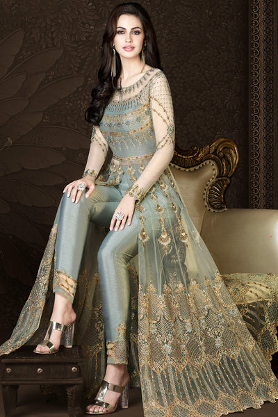 Sheetal's Gray Net and Silk Party Wear Suit