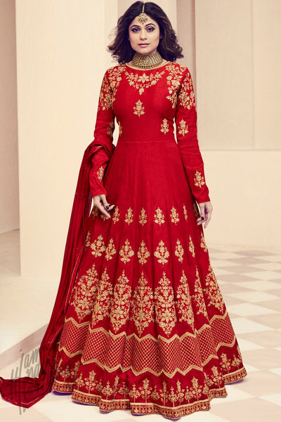 Red Royal Silk Party Wear Anarkali Suit