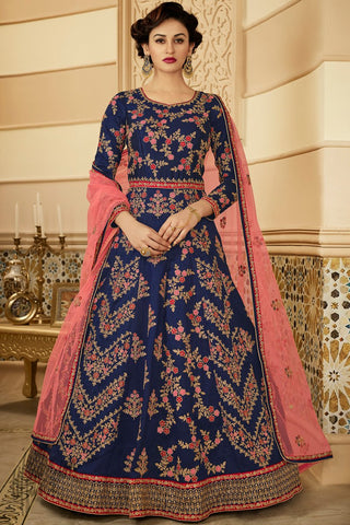 Peach and Maroon Mulberry Silk Lehenga Set