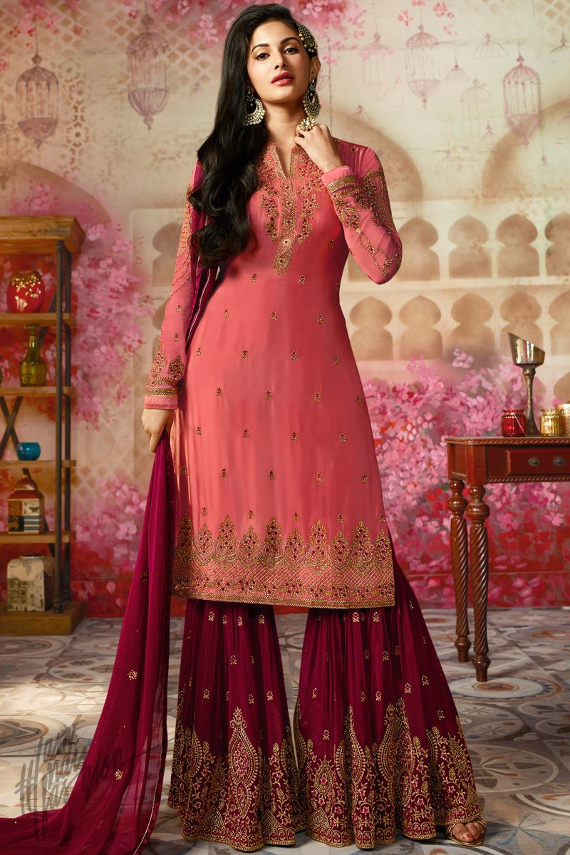 Pink and Wine Satin Georgette Sharara Suit