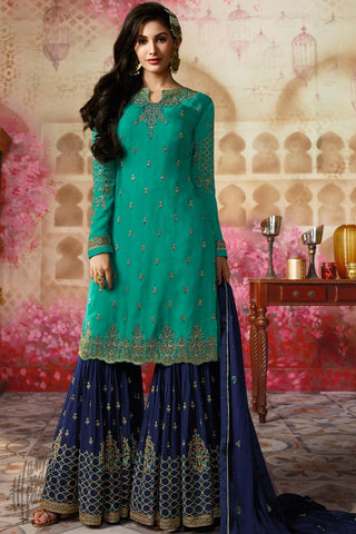 Green and Blue Satin Georgette Sharara Suit