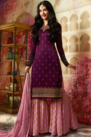 Purple and Mauve Satin Georgette Sharara Suit