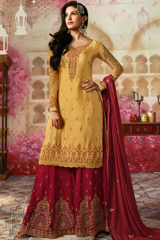 Yellow and Red Satin Georgette Sharara Suit