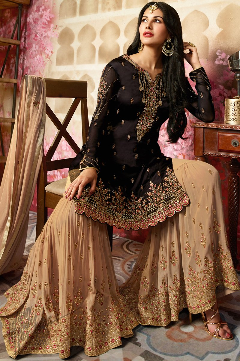cf283e48ff Black and Beige Satin Georgette Sharara Suit - indi.fashion