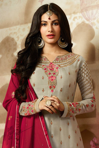 Gray and Red Satin Georgette Sharara Suit