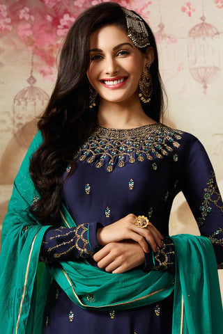 Blue and Green Satin Georgette Sharara Suit
