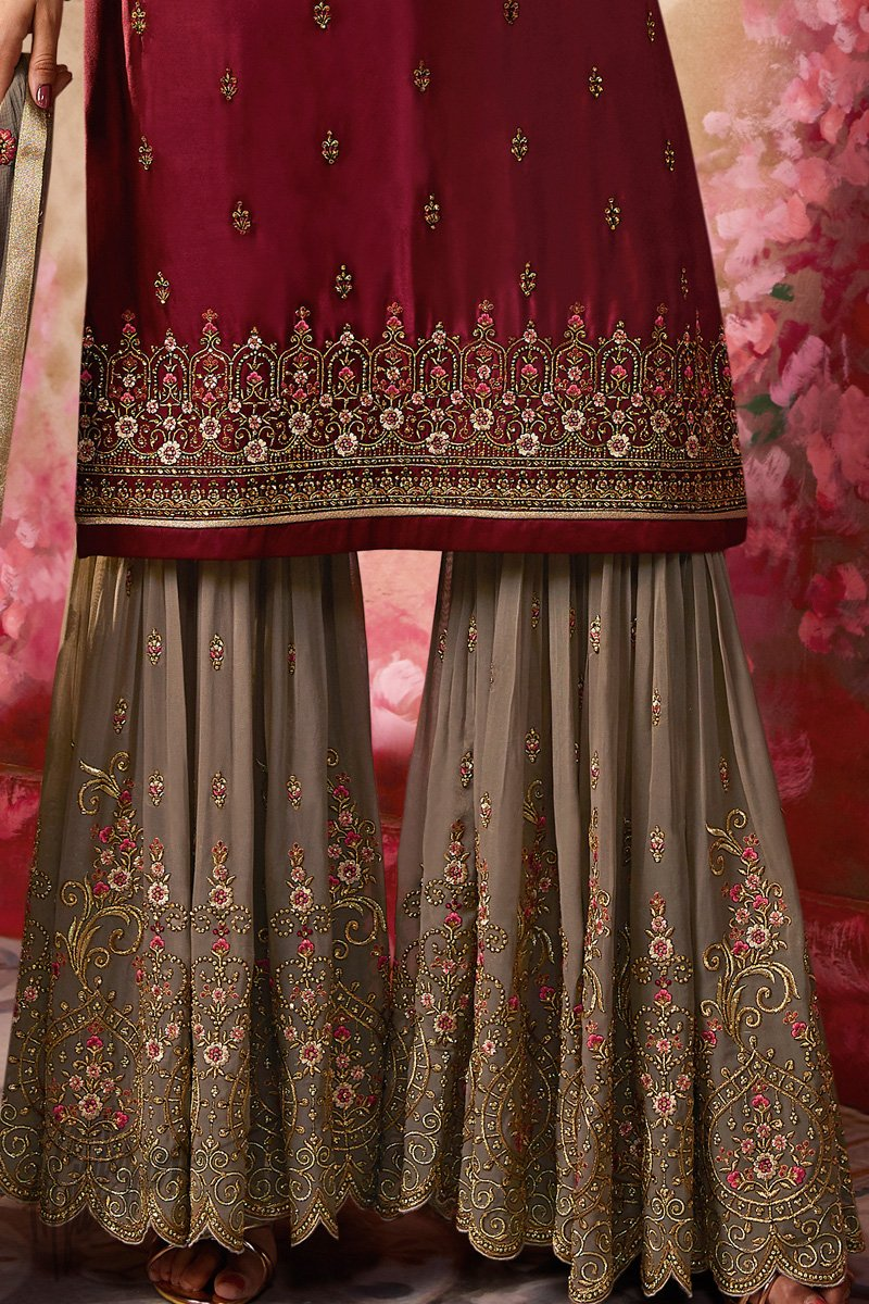 Maroon and Gray Satin Georgette Sharara Suit