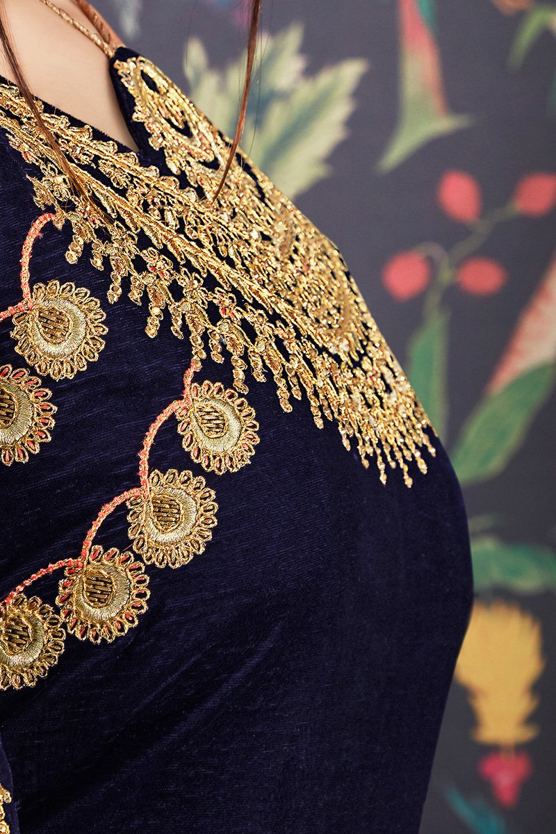 Navy Blue and Orange Velvet and Banarasi Jacquard Suit