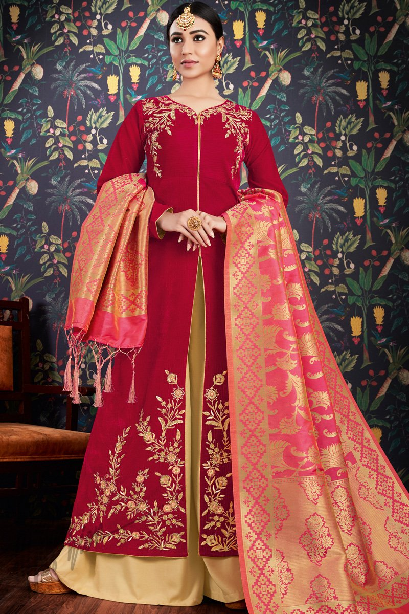 Red and Pink Velvet and Banarasi Jacquard Palazzo Suit