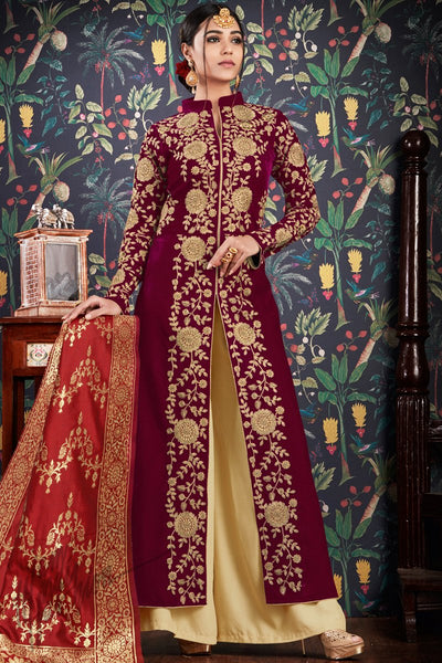 Wine and Red Velvet and Banarasi Jacquard Palazzo Suit
