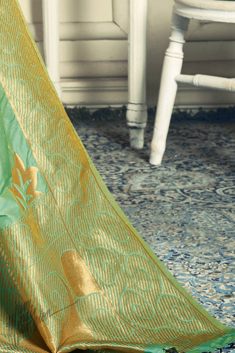Blue and Parrot Green Satin Georgette and Jacquard Sharara Suit