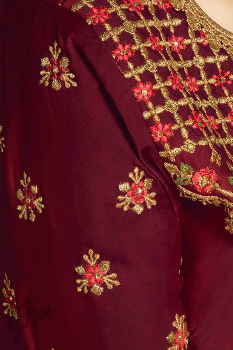 Maroon and Sunflower Yellow Satin Georgette and Jacquard Sharara Suit