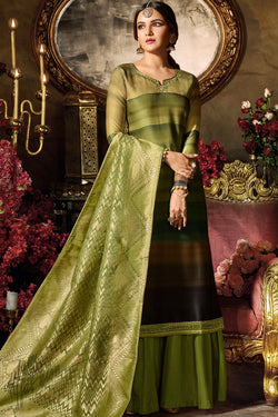 Layered Green Ombre Satin Georgette Palazzo Suit