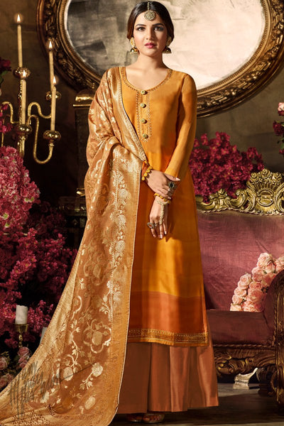Layered Mustard Ombre Satin Georgette Palazzo Suit