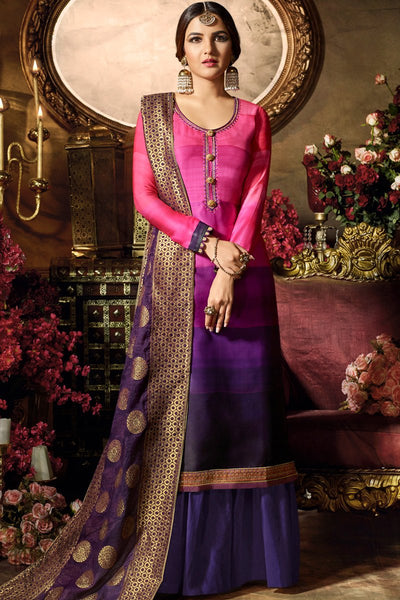 Layered Rani and Purple Ombre Satin Georgette Palazzo Suit
