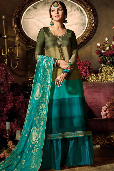 Layered Olive and Teal Ombre Satin Georgette Palazzo Suit