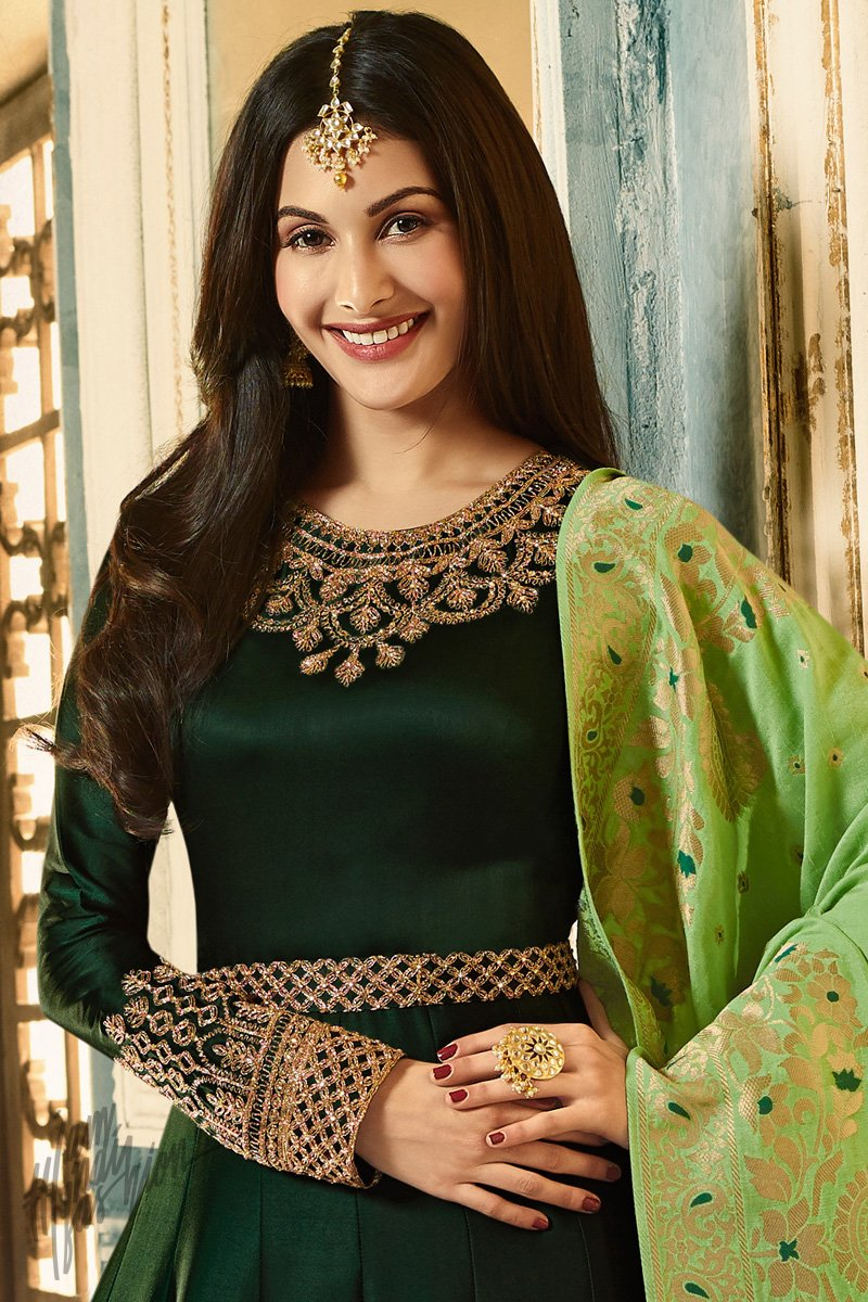 Bottle and Parrot Green Satin Georgette Party Wear Suit