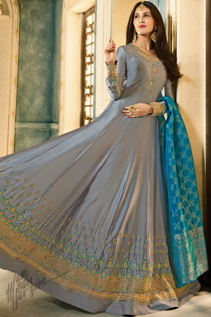 Silver Gray and Firozi Satin Georgette Party Wear Suit
