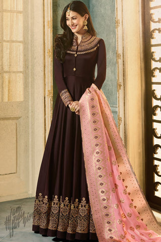 Chocolate Brown and Pink Satin Georgette Party Wear Suit